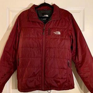 Dark Red North Face Puffer Jacket